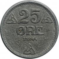 """Норвегия 25 эре 1944 г., UNC, """"Король Хокон VII (1906 - 1957)"""""""