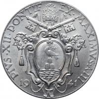 """Ватикан 1 лира 1941 г., BU, """"Папа Пий XII (1939 - 1958)"""""""