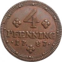 "Мюнстер 4 пфеннига 1787 г., AU, ""Епископ Максимилиан Франц (1784 - 1801)"""