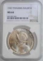 """Панама 1 бальбоа 1947 г., NGC MS64, """"Республика Панама (1904 - 1960)"""""""