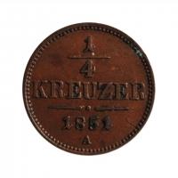 """Австрия 1/4  крейцера 1851 г., XF, """"Австрийская империя (1806 - 1857)"""""""