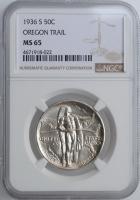 """США 50 центов 1936 г. S, NGC MS65, """"Мемориал Орегонская Тропа"""""""