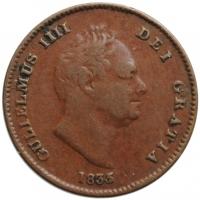 """Великобритания 1/3 фартинга 1835 г., XF, """"Король Вильгельм IV (1831 - 1837)"""""""