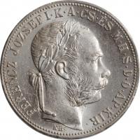 """Венгрия 1 форинт 1883 г., UNC, """"Император Франц Иосиф (1848 - 1916)"""""""