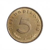 """Германия - Третий рейх 5 рейхспфеннигов 1938 г. A, UNC, """"Нацистская Германия (1933 - 1945)"""""""