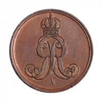 """Ганновер 2 пфеннига 1863 г., UNC, """"Король Георг V (1851 - 1866)"""""""