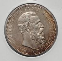 Пруссия 5 марок 1888 г., XF-UNC, 'Бюст Фридриха III'