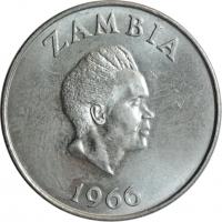 """Замбия 1 шиллинг 1966 г., UNC, """"Президент Кеннет Каунда (1964 - 1991)"""""""