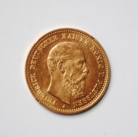 Пруссия 10 марок 1888 г., UNC, 'Бюст Фридриха III', Au (золото)