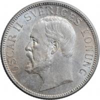 "Швеция 2 кроны 1907 г. EB, UNC, ""Король Оскар II (1873 - 1907)"""