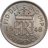 """Великобритания 6 пенсов 1948 г., BU, """"Король Георг VI (1937 - 1952)"""""""