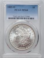 "США 1 доллар 1885 г. O, PCGS MS64, ""Доллар Моргана"""