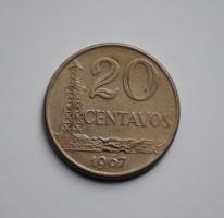 Бразилия 20 сентаво 1967 г., UNC, 'Бразильский крузейро (1942-1986)'