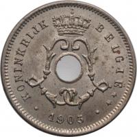 """Бельгия 5 сантимов 1903 г., BU BELGIË, """"Король Леопольд II (1865 - 1909)"""""""