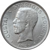 """Швеция 1 крона 1929 г. G, BU, """"Король Густав V (1908 - 1950)"""""""