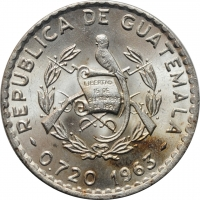 "Гватемала 50 сентаво 1963 г., BU, ""Республика Гватемала (1949 - 2017)"""