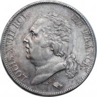 """Франция 5 франков 1822 г. B, UNC, """"Король Людовик XVIII (1815 - 1824)"""""""
