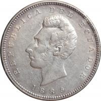 """Эквадор 1 сукре 1889 г. H, XF-AU, """"Республика Эквадор (1872 - 1918)"""""""