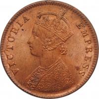 """Индия - Британская 1/4 анна 1889 г., UNC, """"Королева Виктория (1862 - 1901)"""""""