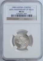 """Австрия 1 крона 1908 г., NGC MS62, """"60 лет правлению"""""""