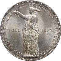 "Франкфурт 1 талер 1862 г., PCGS MS63, ""Немецкий стрелковый фестиваль"""