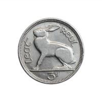 """Ирландия 3 пенса 1928 г., AU, """"Свободное государство (1927 - 1937)"""""""
