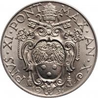 """Ватикан 50 чентезимо 1931 г., BU, """"Папа Пий XI (1929 - 1938)"""""""
