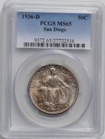 США 50 центов 1936 г. D, PCGS MS65, 'Калифорнийская Тихоокеанская выставка в Сан-Диего'