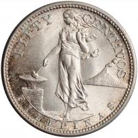 """Филиппины 50 сентаво 1944 г. S, UNC, """"Администрация США (1903 - 1945)"""""""