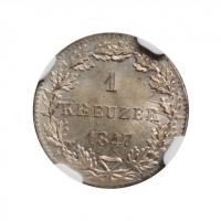 """Франкфурт 1 крейцер 1847 г., NGC MS64, """"Вольный город Франкфурт (1807 - 1866)"""""""