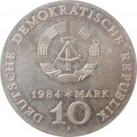 """ГДР 10 марок 1984 г., UNC, """"100 лет со дня смерти Альфреда Эдмунда Брема"""""""