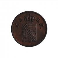 """Саксония 1 пфенниг 1859 г., UNC, """"Король Иоганн (1854 - 1873)"""""""