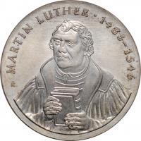 """ГДР 20 марок 1983 г., UNC, """"500 лет со дня рождения Мартина Лютера"""""""