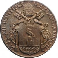 """Ватикан 5 чентезимо 1940 г., BU, """"Папа Пий XII (1939 - 1958)"""""""