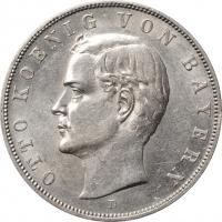 "Бавария 3 марки 1910 г., UNC, ""Король Отто I (1886 - 1913)"""