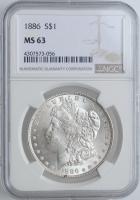 "США 1 доллар 1886 г., NGC MS63, ""Доллар Моргана"""