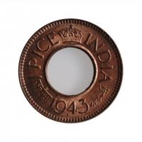 """Индия - Британская 1 пайс 1943 г. B, BU, """"Король Георг VI (1938 - 1947)"""" HIGH CROWN"""