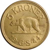 """Гренландия 5 крон 1944 г., UNC, """"Датская колония (1926 - 1964)"""""""