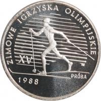"""Польша 1000 злотых 1987 г., PROOF PROBA, """"XV зимние Олимпийские Игры, Калгари 1988"""""""