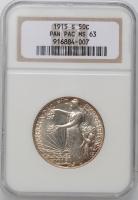 "США 50 центов 1915 г., NGC MS63, ""Панамо-Тихоокеанская международная выставка"""