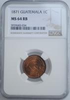 "Гватемала 1 сентаво 1871 г., NGC MS64 RB, ""Песо (1859 - 1925)"""