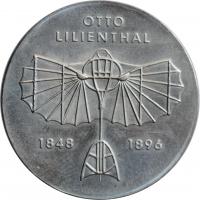 """ГДР 5 марок 1973 г., BU, """"125 лет со дня рождения Отто Лилиенталя"""""""