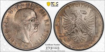 """Албания 10 леков 1939 г., PCGS MS63, """"Итальянская оккупация (1939 - 1943)"""""""