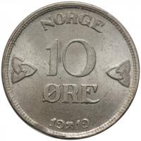 """Норвегия 10 эре 1919 г., BU, """"Король Хокон VII (1906 - 1957)"""""""