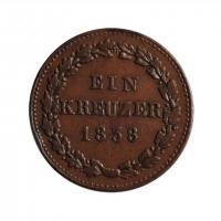 "Нассау 1 крейцер 1838 г., XF, ""Герцог Вильгельм I (1816 - 1839)"""