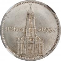 """Германия (Третий рейх) 2 рейхсмарки 1934 г. D, NGC MS63+, """"Гарнизонная церковь в Потсдаме (21 März 1933)"""""""