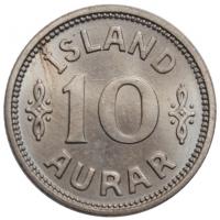 """Исландия 10 эйре 1936 г. N, BU, """"Король Кристиан X (1922 - 1943)"""""""