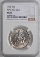 """США 50 центов 1938 г., NGC MS65, """"250 лет городу Нью-Рошелл"""""""