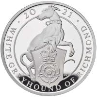 """Великобритания 2 фунта 2021 г., PROOF, """"Звери Королевы - Белая Борзая Ричмонда"""""""
