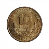 """Гвинея 10 франков 1959 г., BU, """"Старый франк (1959 - 1971)"""""""